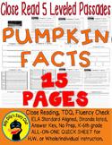 Pumpkin FACTS Close Read 5 levels 300-1000Lexiles Info Text 15pgs +Bonus Freebie