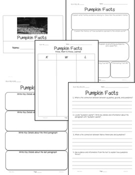 Pumpkin FACTS Close Read 5 levels 300-1000Lexiles Info Text 15pgs +Bonus Freebie