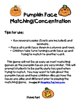 Pumpkin Face Matching/Concentration