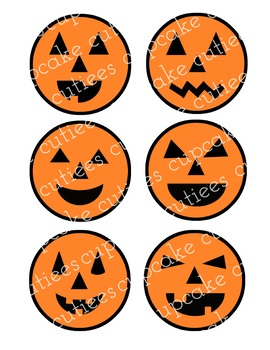 Pumpkin Faces Round Favor Classroom Tags - Halloween Fall Autumn Tags