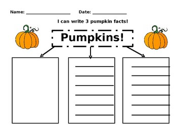 Pumpkin Fact Graphic Organizer