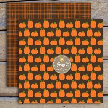 Pumpkin Fall Autumn digital paper