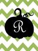 Pumpkin Fall Initial Print Green Chevron - Letters A - X, including & sign