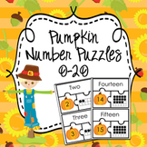 Pumpkin Fall Number Puzzles  0-20 ( Number Name ,  Number and Ten Frame )
