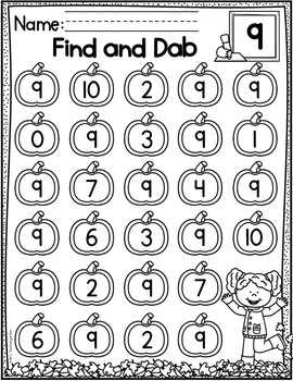 Pumpkin Numbers 0-20 Find and Dab