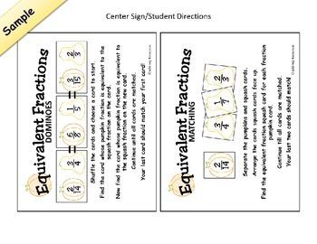 Pumpkin Fraction Dominoes - Fall Autumn Equivalent Math Center