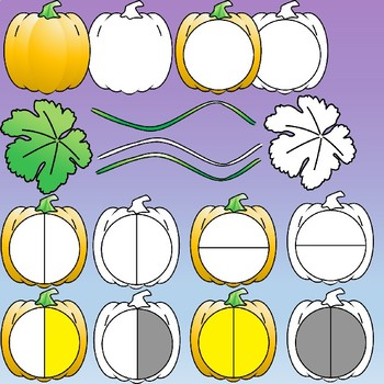 Pumpkin Fractions Clipart (Spinners)