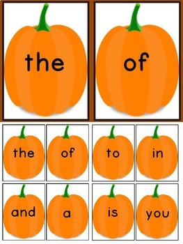 Pumpkin Fry First 100 Words High Frequency Sight Word Flashcards and Posters