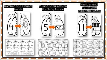 Pumpkin Fun! Literacy and Math Matching Puzzles