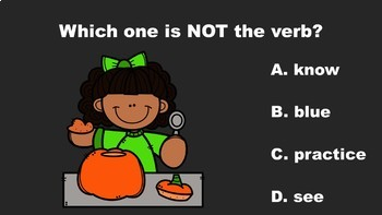 Pumpkin Fun With Nouns, Verbs, and Adjectives A PowerPoint Game Mini Pack Bundle