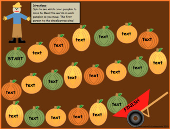 Pumpkin Gameboard--Editable! Great for sight words, math facts & more!