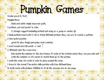 Pumpkin Games (Fall Themed ELA and Math Games)