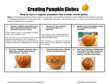 Pumpkin Globes Directions   Geography including oceans and continents.
