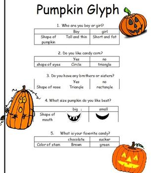 pumpkin glyph for k 1st or 2nd grades art or after reading activity - Halloween Glyphs