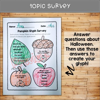 Pumpkin Faces Glyph with Survey, Craft, Data Sheet, and Writing Prompt