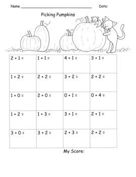 Pumpkin Halloween Addition Fluency Sums to 5 Kindergarten Common Core K.OA.5