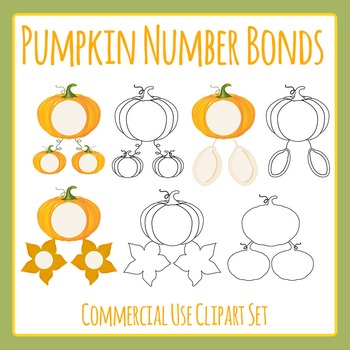 Pumpkin Halloween Number Bonds Clip Art for Commercial Use