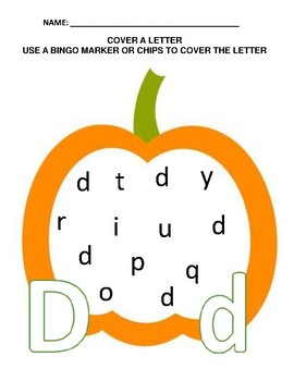 Pumpkin & Halloween Theme - A-Z Cover A Letter - Preschool/Kindergarten