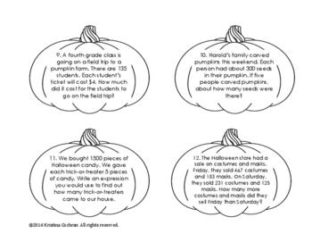 Pumpkin Halloween Word Problems