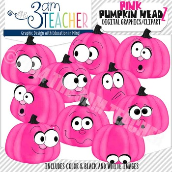 Pumpkin Headz Clipart Set: Bright Pink
