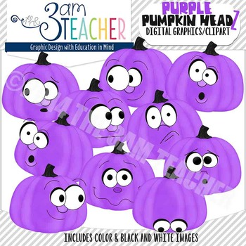 Pumpkin Headz Clipart Set: Bright Purple