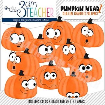 Pumpkin Headz Clipart Set: ORANGE
