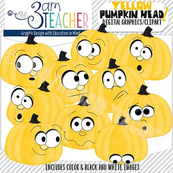 Pumpkin Headz Clipart Set: YELLOW