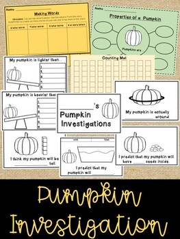 Pumpkin Investigation Mini Bundle - A Little Math, Science, and Literacy...