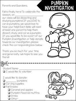 Pumpkin Investigation Parent Letter