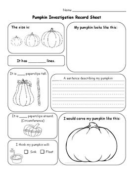 Pumpkin Investigation Sheet