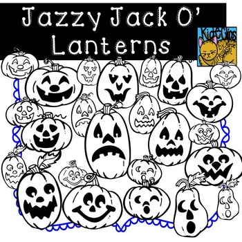 Pumpkin Jack-O-Lantern Faces Fall Clip Art Kid-E-Clips Commercial and Personal