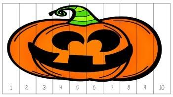 Pumpkin / Jack-O-Lantern Number Order Puzzle - Count by 1, 2, 5, 10