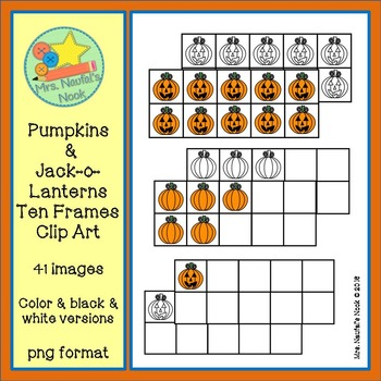 Pumpkin and Jack-o-Lantern Ten Frames Clip Art