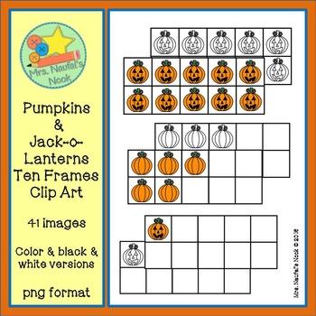 Ten Frames Clip Art - Pumpkin and Jack-o-Lantern