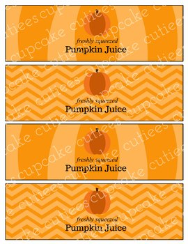 Pumpkin Juice-  Label Hand out Classroom Party Digital Printable