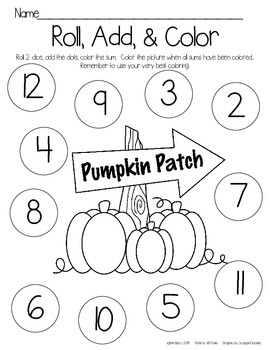 Roll, Add, and Color - Pumpkin Kids Edition