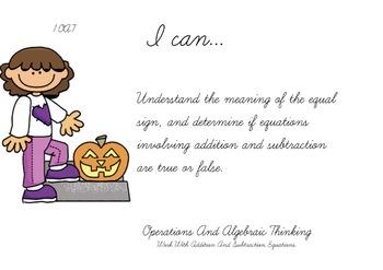 Pumpkin Kids Theme 1st grade math Common Core Posters first Grade Standards