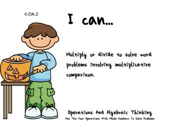 Pumpkin Kids Theme 4th grade math Common Core Posters fourth Grade Standards