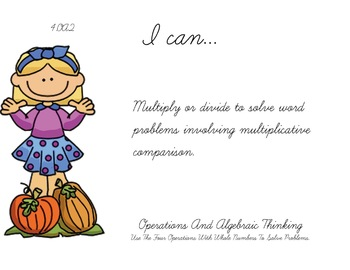 Pumpkin Kids Theme 4th grade math Common Core Posters fourth Grade Standards