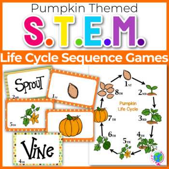 "Sequencing with Pumpkin Life Cycle ""War"" card game center"