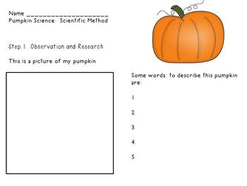 Pumpkin Lab using Scientific Method