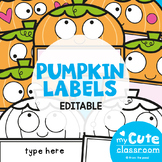 Pumpkin Labels for the Classroom {Editable}