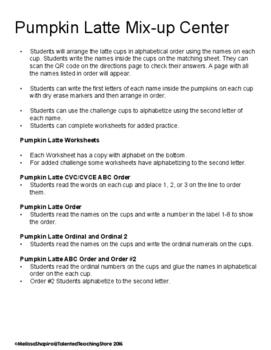 Pumpkin Spice Latte ABC Order Literacy Activity