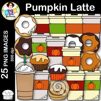 Pumpkin Latte Clip Art ● Coffee Clip Art ● Donut Clip Art