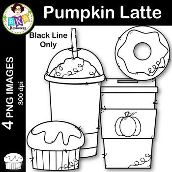 Pumpkin Latte Clip Art FREEBIE ● Coffee Clip Art ● Black Line Only