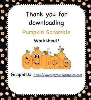 Pumpkin Letter Scramble