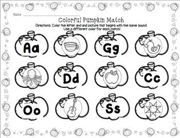 Pumpkin Letter Sound Match
