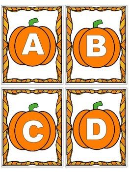 Pumpkin Letter and Number Flashcards
