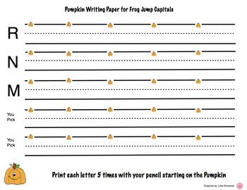 Pumpkin Letter writing paper HWT Frog Jump and Corner Starting Capitals