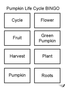 Pumpkin Life Cycle 3 by 3 BINGO!